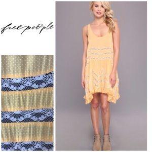 FREE PEOPLE Voile Dot Yellow Tunic Slip Dress XS